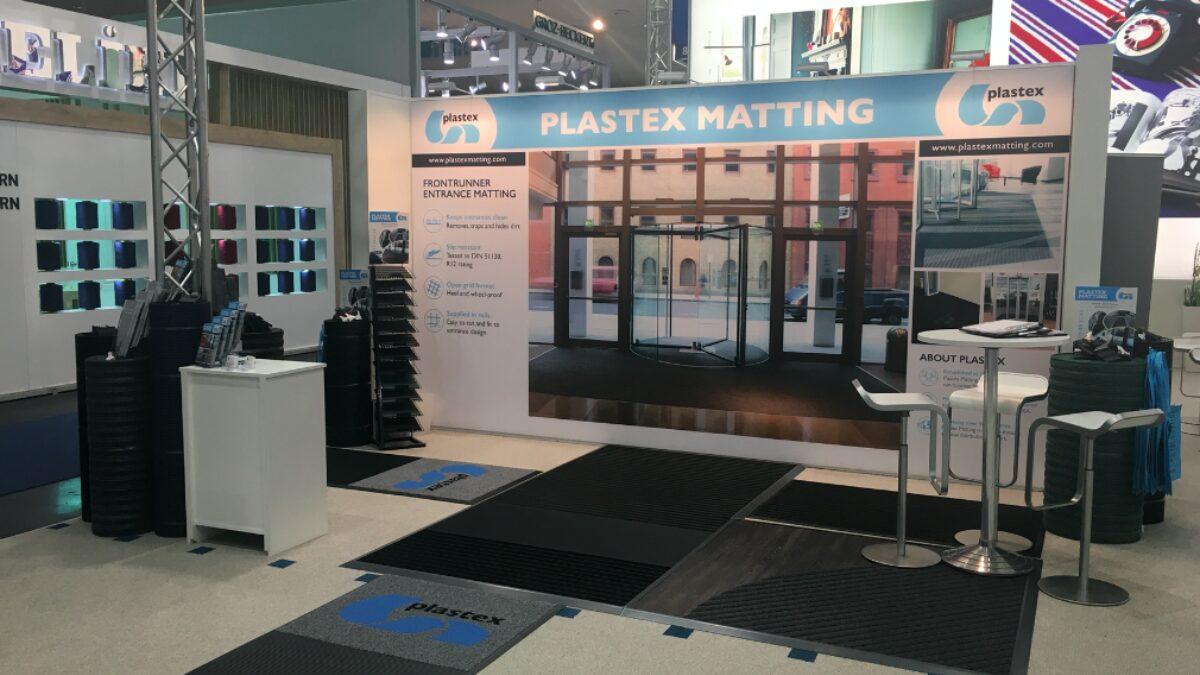 Plastex matting on display at a European trade show.