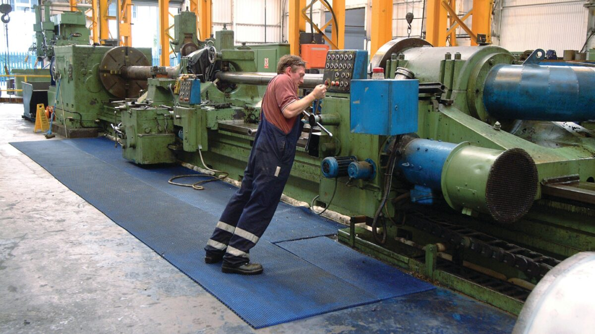 Plastex Vynagrip matting helps prevent workers at heavy engineering plant Howco Whitham from slipping on oil, grease and grime