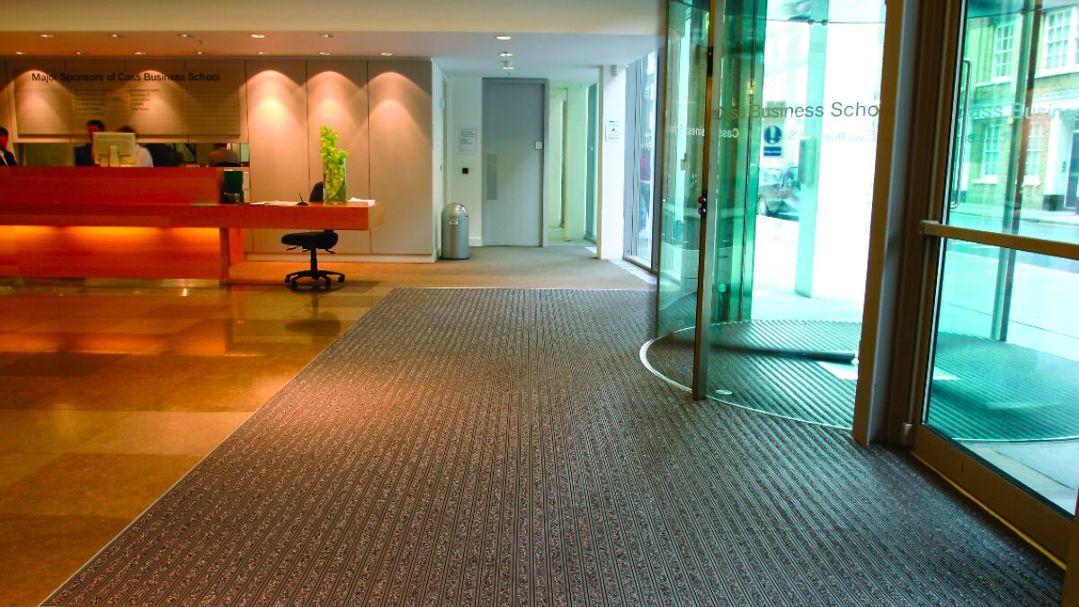 Plastex commercial building matting is slip resistant and designed to withstand high traffic.