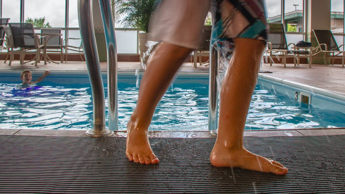 Plastex drainage matting is ideal for barefoot environments, like swimming pools and changing areas.
