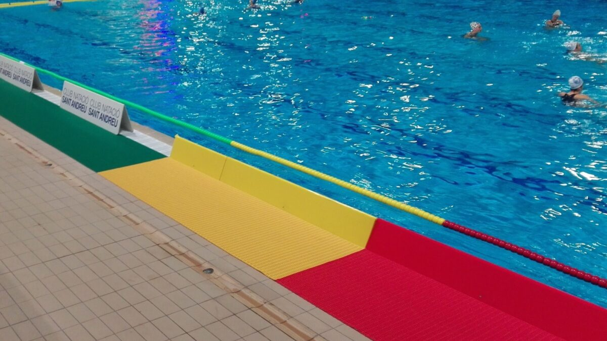 Floorline Water Polo is slip-resistant poolside matting with brightly coloured field markings.